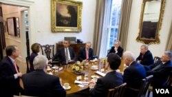 Presiden Obama berunding dengan para pemimpin Kongres dari kedua partai.