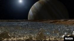 Una composición artística muestra lo que sería la vista de Júpiter desde la superficie helada de Europa.