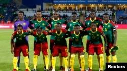 L'équipe des lions indomptables lors des demi-finales contre le Ghana à Franceville, au Gabon, le 2 février 2017.