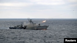 Một tàu chống ngầm của Nga diễn tập ở Biển Đen (ảnh tư liệu, tháng 1/2020)