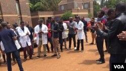 Doctors protest at Parirenyatwa Hospital in Harare.