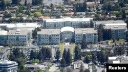Kantor pusat Apple Inc. di Cupertino, California, bagian dari Silicon Valley, California, AS.