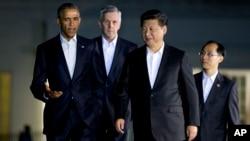 中國國家主席習近平9月24日星期四晚抵達白宮與奧巴馬共進晚餐。