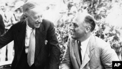 """Alfred E. Smith,left, New York's former governor, used the word """"baloney"""" to criticize Franklin D. Roosevelt."""