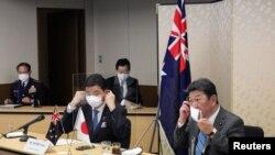 ဂ်ပန္နဲ ့ ျသစေတးလ် နိုင္ငံျခားေရးနဲ ့ကာကြယ္ေရး၀န္ၾကီးမ်ား ဗြီဒီယိုမွတဆင့္ေဆြးေႏြးစဥ္ (ဓာတ္ပံု-Reuters)