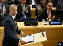 FILE - President Barack Obama address the Leaders Summit on Refugees during the meeting of the 71st session of the U.N. General Assembly at U.N. headquarters, Sept. 20, 2016.