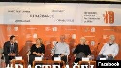 """Učesnici konferencije """"Rastrašivanje"""": Jovanka Matić, Rodoljub Šabić, Sandra Petrušić, Miroslav Hadžić (Foto: Beogradski centar za bezbednosnu politiku)"""