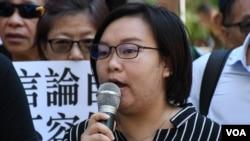 香港民陣候任人權組召集人梁穎敏。(美國之音湯惠芸拍攝)