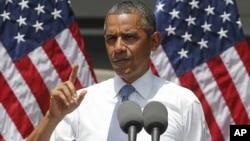 Президент США Барак Обама выступает в Джорджтаунском университете. Вашингтон. 25 июня 2013 г.