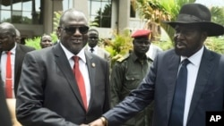 Wakil Presiden Sudan Selatan Riek Machar (kiri) dan Presiden Salva Kiir berjabat tangan usai pertemuan di Juba (foto: dok).
