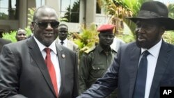 Mataimakin Shugaban kasa Riek Machar da Shugaban kasar Sudan ta Kudu Salva Kiir
