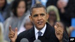 美國總統奧巴馬星期五在俄亥俄州克利夫蘭進行競選