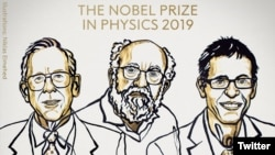 Les Nobel de physique 2019 James Peebles, Michel Mayor et Didier Queloz.