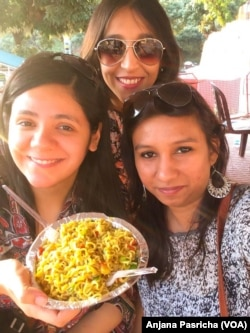 Shweta Andrews (right) and her friends set to tuck into a plate of Maggi noodles at the hill resort of Lansdowne despite the raging controversy over high lead levels.