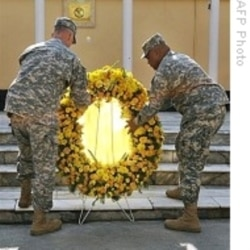 Soldiers mark Veterans Day with a wreath-laying ceremony in Afghanistan