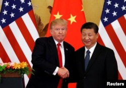 U.S. President Donald Trump and China's President Xi Jinping make joint statements at the Great Hall of the People in Beijing, China, November 9, 2017.