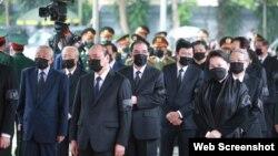 Các lãnh đạo Việt Nam dự Quốc tang ông Lê Khả Phiêu, ngày 14/8/2020. Photo VietnamNet