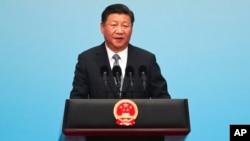 在廈門金磚峰會的金磚國家工商論壇開幕式上,中國主席習近平致辭(2017年9月3日資料照)