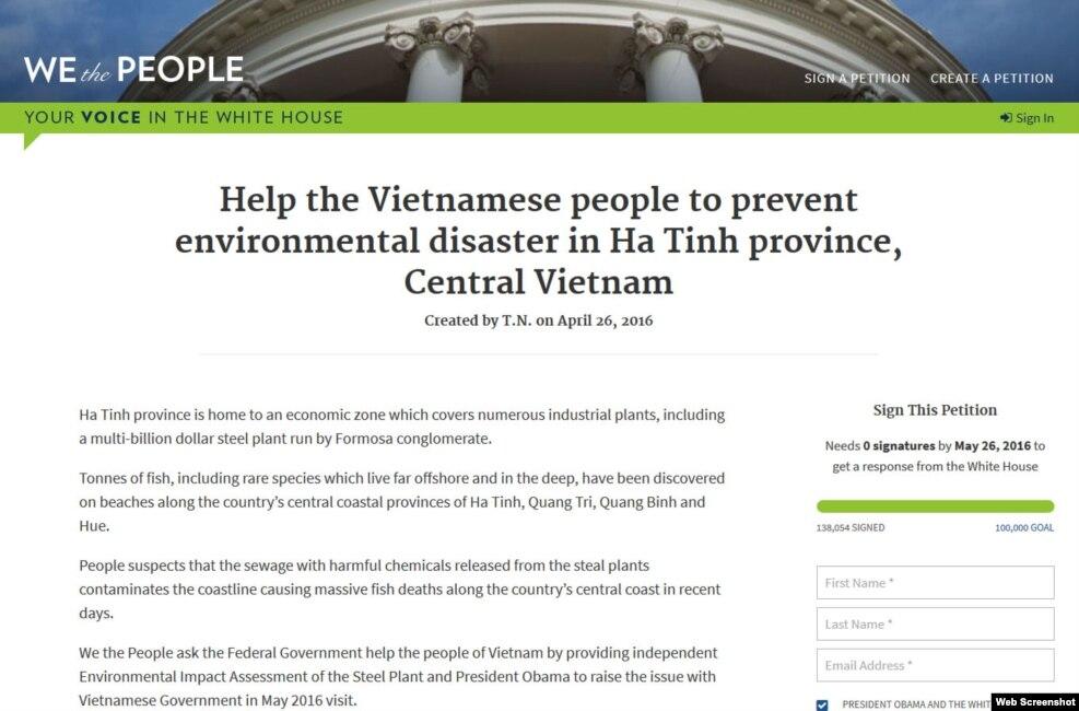 """Thỉnh nguyện thư trên trang web """"We the People"""" của nhà trắng, kêu gọi chính phủ Mỹ giúp điều tra vụ cá chết làm điêu đứng người dân ở miền Trung Việt Nam."""