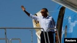 Tổng thống Mỹ Barack Obama lên đường sang tham dự các hội nghị cấp cao tại Lào và Trung Quốc, từ Sân bay Quốc tế Reno-Tahoe ở Reno, Nevada, 31/8/2016.