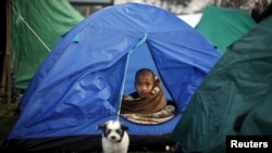 A boy sits inside a tent on an open ground, after Saturday's earthquake in Kathmandu, Nepal early April 29, 2015.