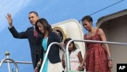 奧巴馬一行抵達巴西訪問。