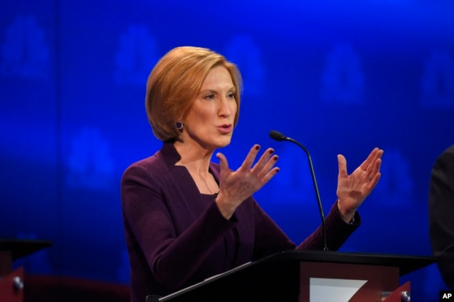 Carly Fiorina speaks during the CNBC Republican presidential debate at the University of Colorado, Oct. 28, 2015, in Boulder, Colo.