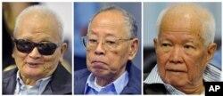 Các cựu thủ lĩnh Khmer Đỏ (từ trái sang): Nuon Chea, Ieng Sary, và Khieu Samphan, tại một phiên xử ở Phnom Penh, 21/11/2011.
