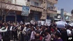 敘利亞民眾抗議。