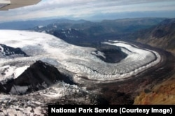 A view from above of a winding glacier, Wrangell-St. Elias National Park