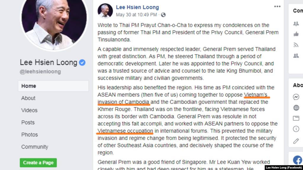 Phát biểu lên quan đến Việt Nam trên trang Facebook của Thủ tướng Singapore Lý Hiển Long.