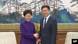 中國國務院副總理韓正2019年11月6日在北京釣魚台國賓館會見香港特首林鄭月娥