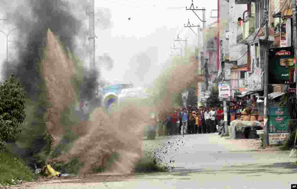 Nepalese Army's bomb disposal team detonates the explosives during the local election in Bhaktapur.