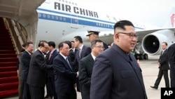 شمالی کوریا کے لیڈر ایئر چائنہ کے جہاز سے سنگاپور کے چانگی انٹرنیشنل ایئر پورٹ پر پہنچے