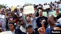 Des étudiants manifestent à l'université Stellenbosch, à Stellenbosch, Afrique du Sud, 1er septembre 2015. (Archives).REUTERS/Mike Hutchings