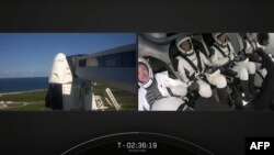 "Greb video veb snimka SpejsEksa na kom se vide spoljašnost i unutrašnjost svemirskog broda ""Zmaj"" pred lansiranje na NASA-inom Svemiskom centru Kenedi, 15. sepmtebra 2021."