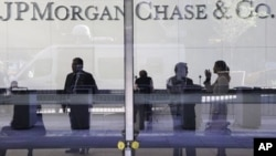 The lobby of JPMorgan Chase headquarters in New York, May 11, 2012.