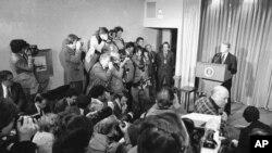 지난 1978년 지미 카터 당시 미국 대통령이 광산노동자들의 파업 사태 해결을 위해 태프트-하틀리법을 발동한다고 밝혔다. (자료사진)