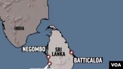 SRI LANKA shaded relief map, with COLOMBO, NEGOMBO and BATTICALOA locators, partial graphic