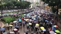 香港民眾排隊等候進入維園參加集會