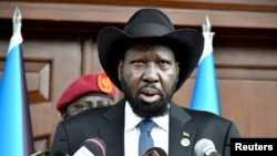 South Sudan's President Salva Kiir addresses the nation as it marks the 10th anniversary of independence, at the State House in Juba, South Sudan, July 9, 2021.