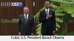 VOA60 World- President Barack Obama meets with Cuban President Raul Castro during historic visit to Cuba