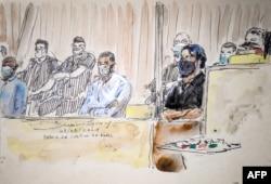 Sketsa ruang sidang ini menunjukkan Salah Abdeslam (kanan), tersangka utama dalam serangan Paris November 2015, dan rekan terdakwa Mohamed Amri (kiri) dan Mohamed Abrini (tengah) pada hari pertama persidangan pengadilan, 8 September 2021.
