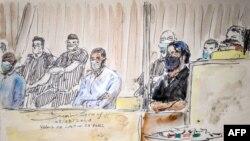 Малюнок із зали суду в Парижі 8 вересня 2021 р.