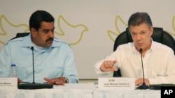 Los presidentes de Colombia, Juan Manuel Santos (derecha), y de Venezuela, Nicolás Maduro, discutirán cara a cara la crisis fronteriza entre ambas naciones.l