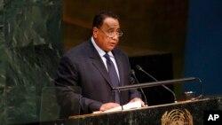 Umushikiranganji w'imigenderanire n'ayandi makungu Ibrahim Ghandour, mu nama ya ONU igira 70 i New York, USA, itariki 02/10/2015