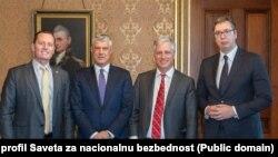 Ričard Grenel, Hašim Tači, Robert O'Brajen i Aleksandar Vučić tokom susreta u Beloj kući (Foto: Savet za nacionalnu bezbednost)