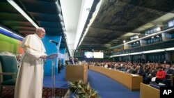 Pope Francis delivers his speech during a session of the United Nations Food and Agriculture Organization (FAO) second International Conference on Nutrition, in Rome, Thursday, Nov. 20, 2014.