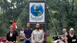 2014年9月21日示威者聚集在纽约中央公园准备进行反对气候变暖游行