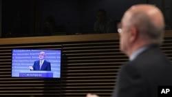 European Commissioner for Competition Joaquin Almunia addressing media, Brussels, Feb. 1, 2012.